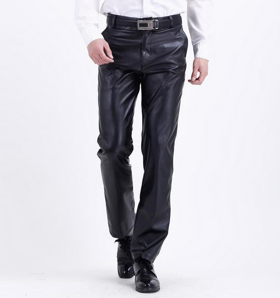 Shiny Mens Motorcycle Straight Pencil Pants Punk PU Leather Long Silm Trousers