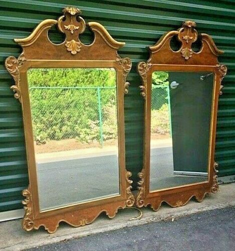 Pair of La Barge Hollywood Regency Italian Gilt Walnut Mirrors