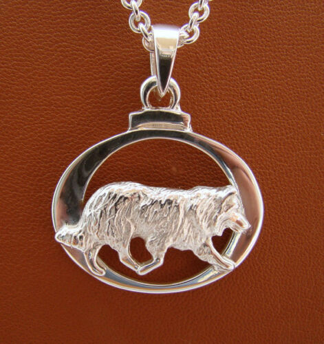 Small Sterling Silver Border Collie Herding Study Pendant