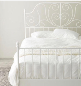 Ikea white metal queen size bed frame