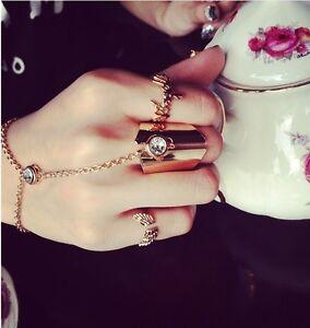 Women Fashion Crystal Bracelet Bangle Slave Chain Link Finger Ring Hand Harness