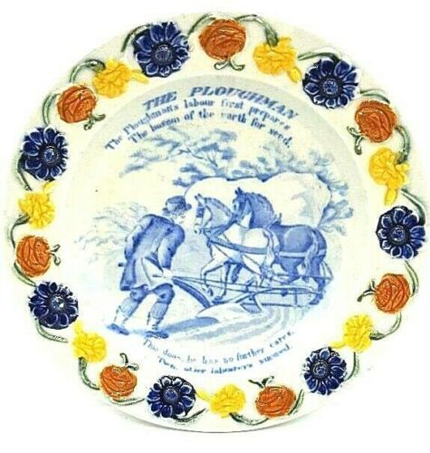 """""""The Ploughman"""" Pearlware Poetry Plate with Superb Floral Border ca. 1830"""