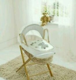 Buy kinder valley Cream ABC teddy moses basket with FREE opal Folding stand. Brand new
