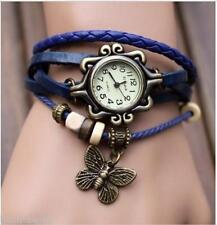 VINTAGE RETRO BRACELET LEATHER WOMEN WRIST WATCH - BLUE