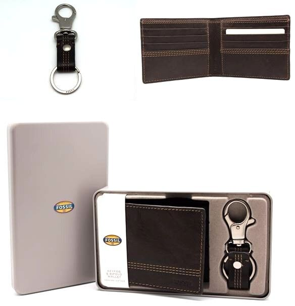 Gift Set For Him Fossil Men's Bifold Wallet With Key Chai...