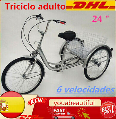 "24 ""Triciclo de 6 velocidades 3 ruedas Triciclo adulto Bicicleta con cesta Luz"