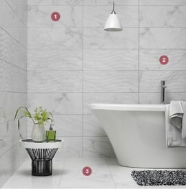 ONLY £21.99 per square m - Elegant Carrara Effect with Wave Feature