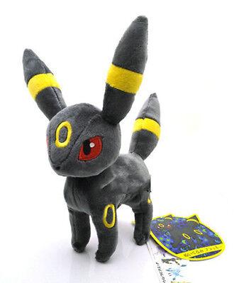 "8"" Pokemon Eevee Umbreon Plush Toy Stuffed Doll Soft Grey Kid Gift Xmas Figure"