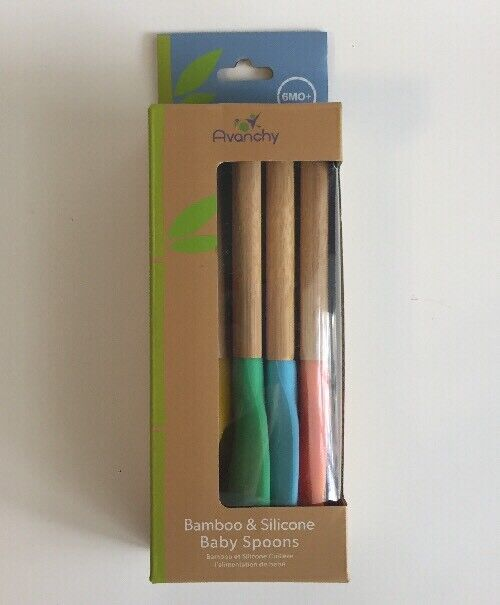 *NEW* Avanchy Bamboo & Silicone Baby Spoon Pack - 5 Spoons