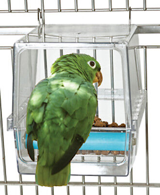 Parrot Feeder Bird Feeder Food Bowl No Mess Seed Feed Acrylic Corral Large