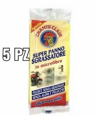 5 x Chanteclair Super Panno Sgrassatore in Microfibra pulisce senza aloni