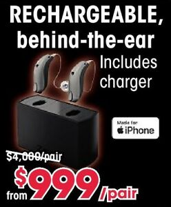 Rechargeable iPhone Hearing Aid Package