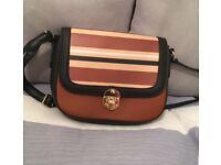 Brown, Cream, White and Black Small Handbag