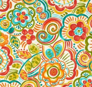 Outdoor/ Indoor ~ Upholstery ~ Retro Floral ~ Multi   ~ Fabric ~ per 1/4 yard