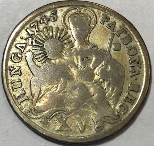 HUNGARY Maria Theresia - Madonna & Child - Silver 15 Krajczar - 1745 KB - Km-335