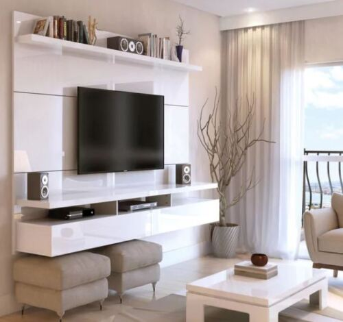 Floating Entertainment Center Wall Unit TV Stand Flat Screen 80 Inch Mount White