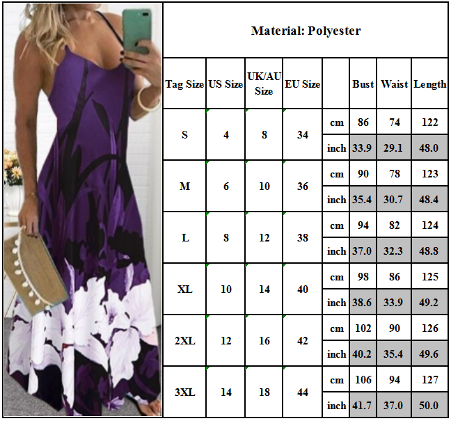 Women Boho Maxi Dress Summer Casual Holiday Sleeveless Party Strappy Sundress Clothing, Shoes & Accessories