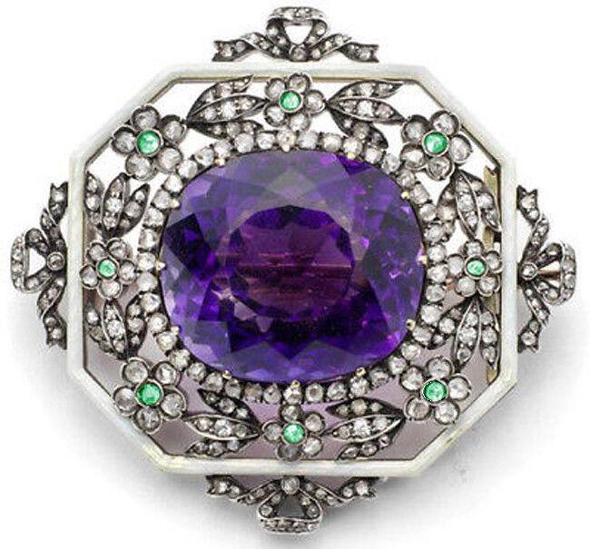 5.10ct ROSE CUT DIAMOND AMETHYST EMERALD ENAMEL LOOK 925 SILVER BROOCH PIN