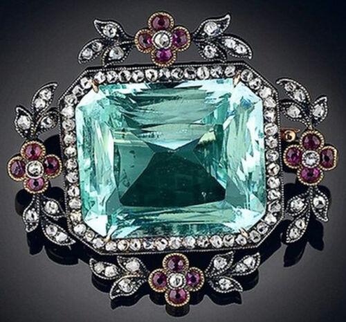 3.42ct Rose Cut Diamond Antique 925 Silver Topaz Ruby Gemstone Brooch