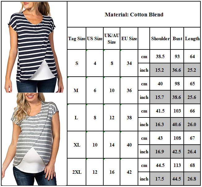 Women Maternity Nursing Top Breastfeeding Blouse Short Sleeve T-shirt Casual Tee Clothing, Shoes & Accessories