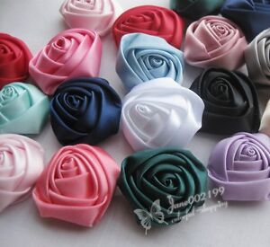 80-15-Big-Satin-Ribbon-Rose-Flower-DIY-Craft-Wedding-Appliques-Lots-U-Pick-A699