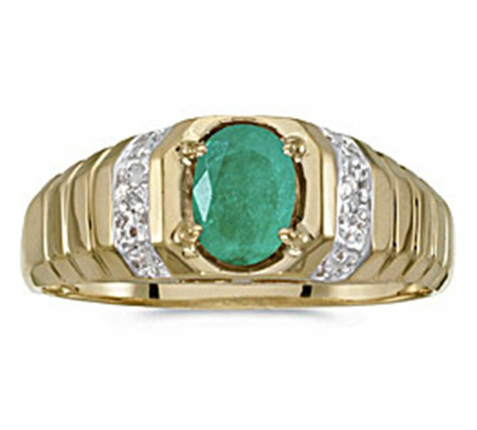 Mens Natural 7x5mm Oval Emerald and Diamond Ring 10K Yellow Gold
