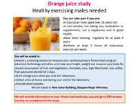 Healthy exercising Caucasian males needed for orange juice study, non smoker and not a vegetarian