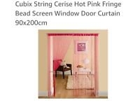2 Cerise Hot Pink String Bead Curtains