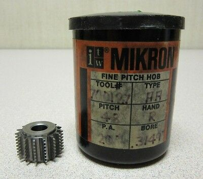 Itw Mikron Fine Pitch Gear Hob 700127 Pitch 48 P.a. 20 Degree Bore .3149