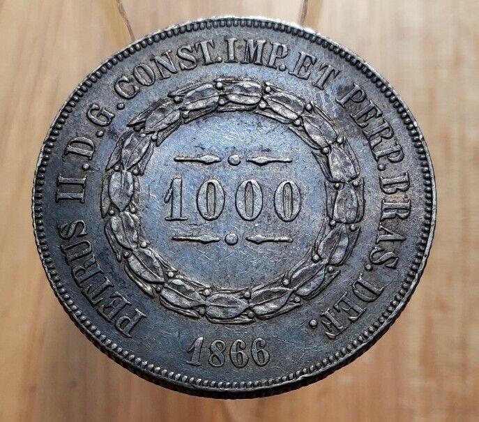 1866 (AU) Brazil 1000 Reis World Silver Coin