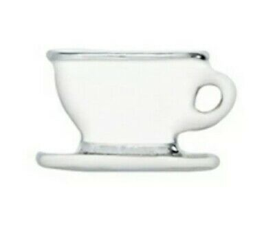 Authentic Origami Owl TEACUP COFFEE CUP SAUCER Floating Enamel Charm BRAND NEW