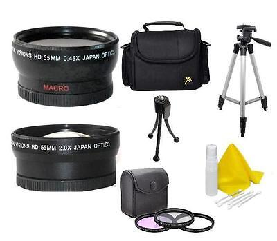 Camcorder Kit Bag (Accessory Kit (Wide, Tele, Tripod, Bag, Filters) For Sony FDR-AX53 Camcorder)