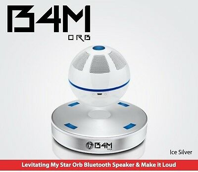 B4M ORB-Ice Silver  Bluetooth 4.1 Floating Sound Levitating Maglev Speak (NFC)
