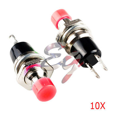 Red 10pcs 7mm Mini Momentary Onoff Lockless Micro Push Button Spst Switch