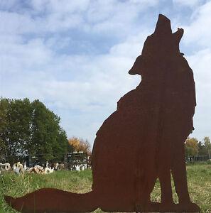 WOLF HEULEND Höhe 72cm Gartenstecker Edelrost Rost Metall Rostfigur Hund Fuchs