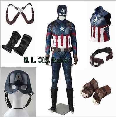 Captain America Avengers 2 Age of Ultron Steven Rogers Cosplay Costume Halloween
