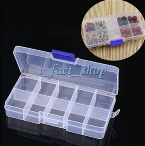 Household Plastic 10 Grid Slots Adjustable Jewelry Storage Box Organizer Case IF