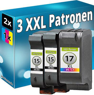 SET XL 3x DRUCKER PATRONE für HP15+17 für DeskJet 825c 840c 845c C6615DE+C6625AE ()