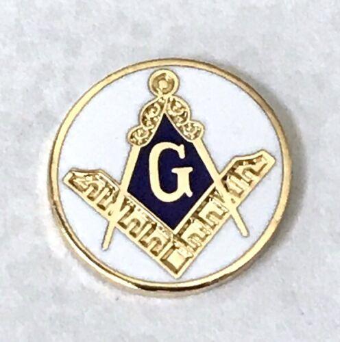 New OLD STOCK Masonic Compass Ruler G Emblem Blue and White Enamel Gold 5pc Lot