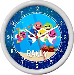 Baby Shark Personalized Wall Clock Child Boy/Girls Room Cute Gift