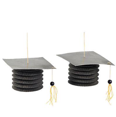 Black Paper Lanterns (12 Black Graduation Cap Hanging Paper)