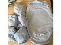 Set of 6 blue cribsheets 120x90cm