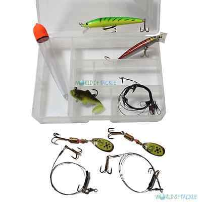 Pike Fishing Set in Tackle Box with Lures Wire Trace Snap Tackle and Float