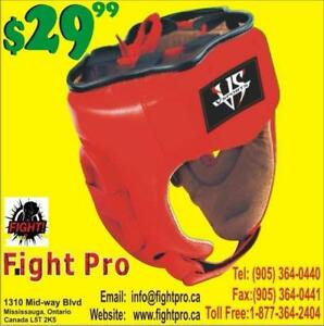 HEAD GUARDS (lEATHER lIT) GREAT QUALITY, UPTO 75% OFF, DISCOUNT FOR MARTIAL ARTS CLUBS (905) 364-0440 WWW.FIGHTPRO.CA