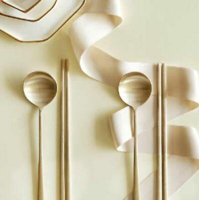 NOTDAM Korean Brassware Bangjja Yugi Moon Spoon & Chopsticks 2set