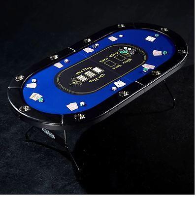 Poker Table Top Topper 10 Player Folding Blackjack Game Gaming Felt Drink Holder