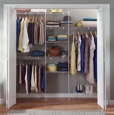 Rubbermaid Custom Closet Organizer Storage Shelf Rod Hanger Kit 8 Foot White -