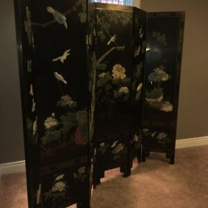 Vintage Asian Black Lacquered Soapstone Room Screen Divider
