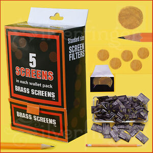 """500 Pcs BRASS PIPE SCREENS ¾""""—5pc/Packx100 Packs— FIlters Glass Metal Wood Pipes"""