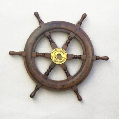"Teak Ship's Steering Wheel 15"" Solid Brass Hub Nautical Pirate Wall Decor New"